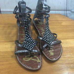 Sam Edelman Metallic Gray Gladiator Sandals
